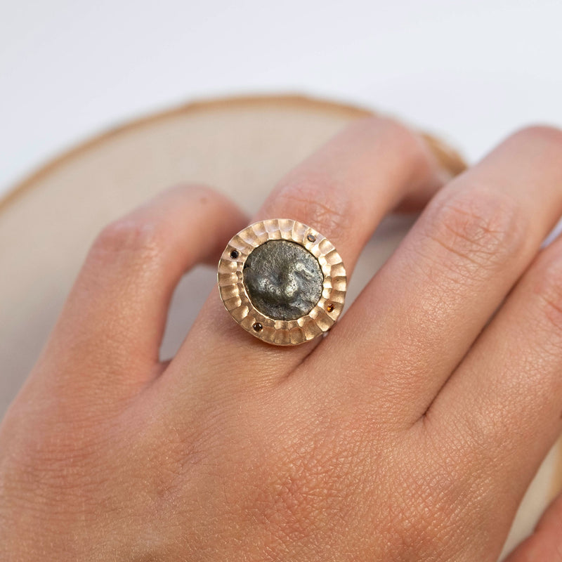 Ancient Greek Horse Coin Ring in 18K Rose Gold with Diamonds