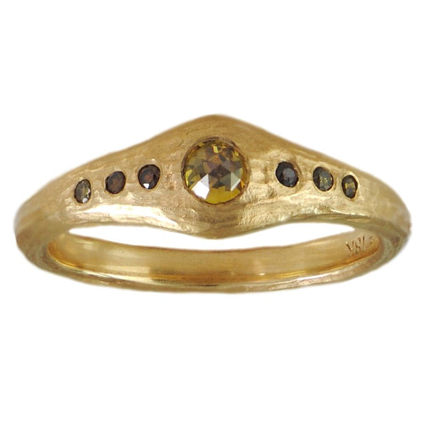 18K Gold and Flush-Set Colored Diamond and Diamond Accent Ring