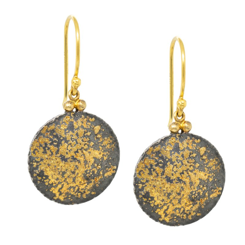 Circular Oxidized Silver and Gold Dust Earrings