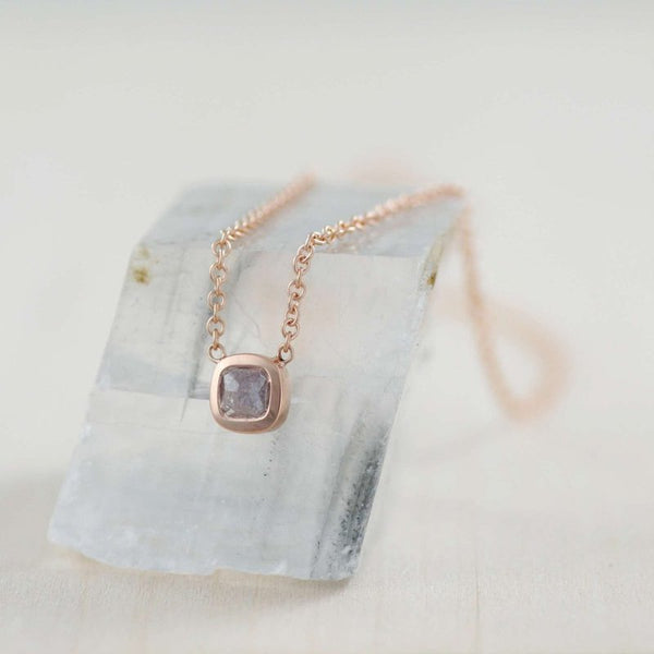 18K Rose Gold Cushion Shaped Colored Diamond (0.56ct) Necklace