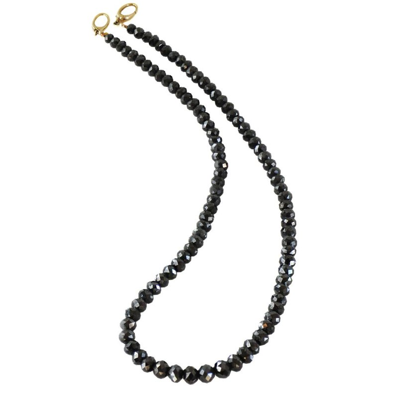 Black Diamond Bead Necklace (15 inches)