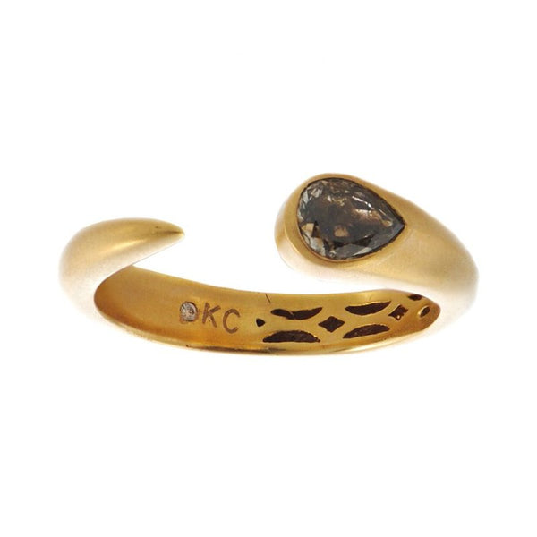 """Tadpole"" Ring with Pear Shaped Colored Diamond in 18K Gold"