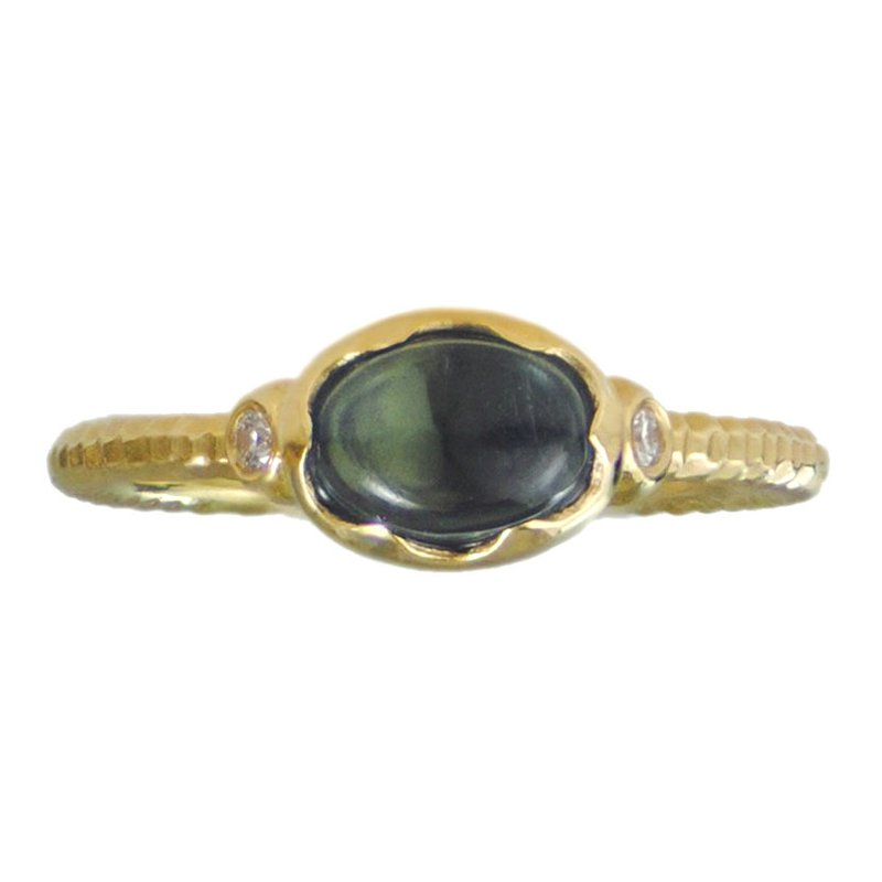 """Ripple in the Well"" Ring with Tourmaline and Diamonds in 18K Gold"