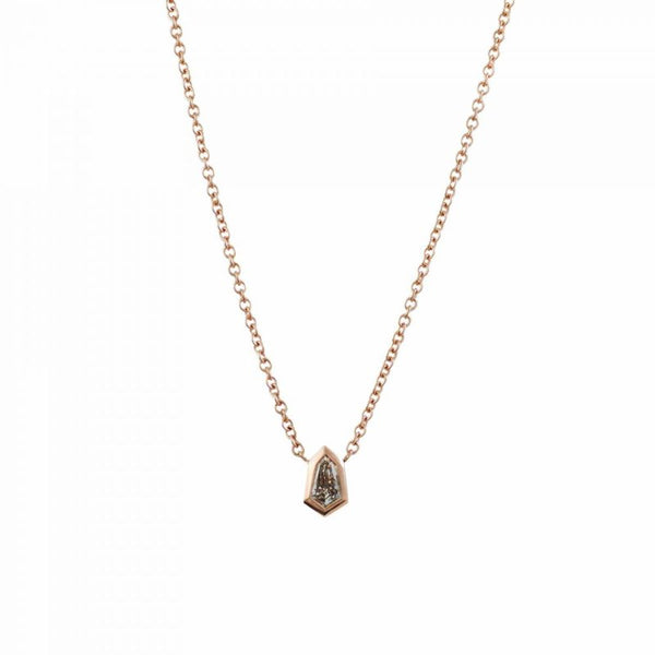 18K Rose Gold Shield Shaped Diamond (0.32ct) Necklace