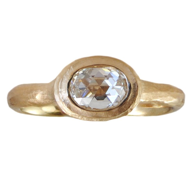 Bezel Set Oval Diamond (0.68ct) Ring in 18K Yellow Gold