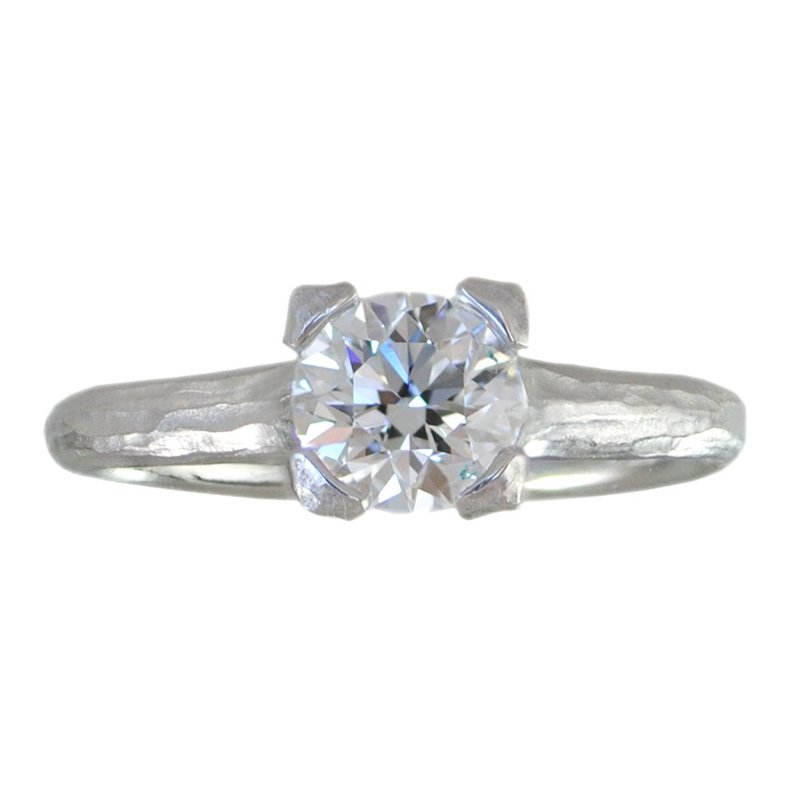 Round Brilliant Diamond (1.02ct, Internally Flawless, D color) Ring in Platinum