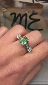 Green Grossular Garnet (2.60ct) Ring with Diamond Accents in Platinum