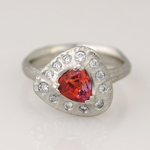Padparadscha Sapphire (1.36ct) Triangular Ring with Diamonds in Platinum