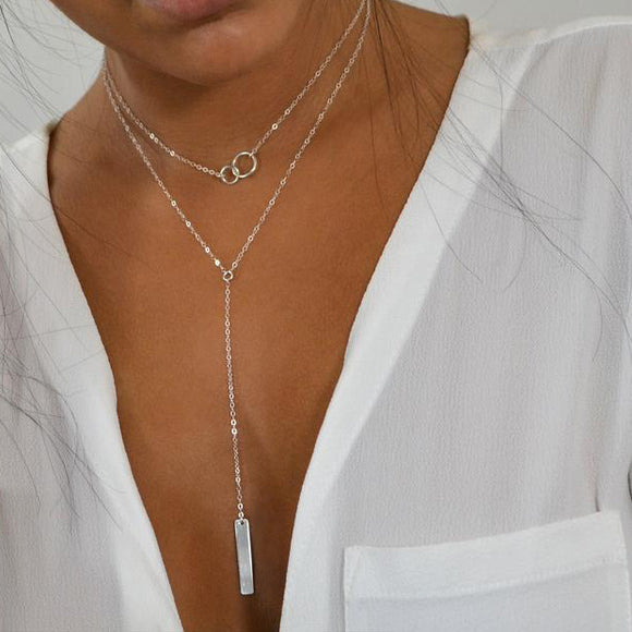 Choker Lariat Y Double Necklace with Bar Drop 925 Silver Jewelry