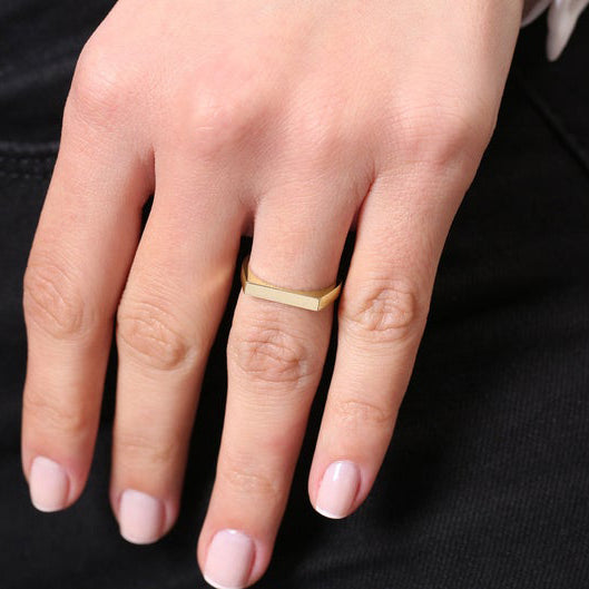 Rectangular Flat Ring in Yellow Gold Silver Personalized Band