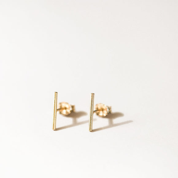 Dainty Ear Studs Gold Plated Silver Minimalist Bar Earrings