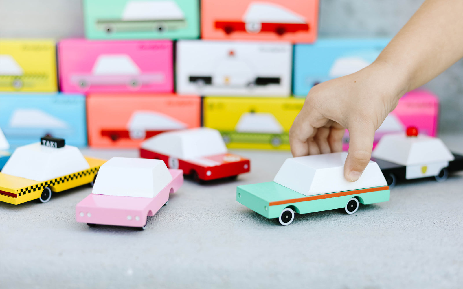Candylab Toys Solid Beech Wood CandyCar Yellow Taxi