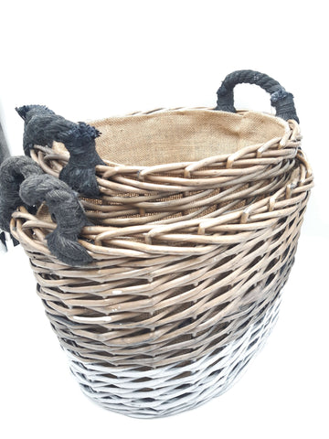 Basket Oval Triple Tone Chunky Storage With Lining