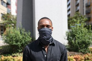Man Wearing Face Guard Pollution Scarf | CYCL