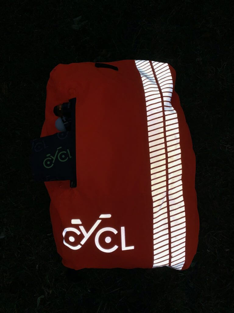 High Visibility Backpack Cover by night | CYCL