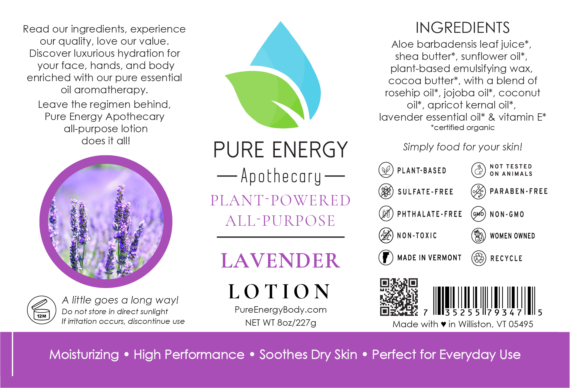 Natural All Purpose Lotion 8 Oz (Lavender)