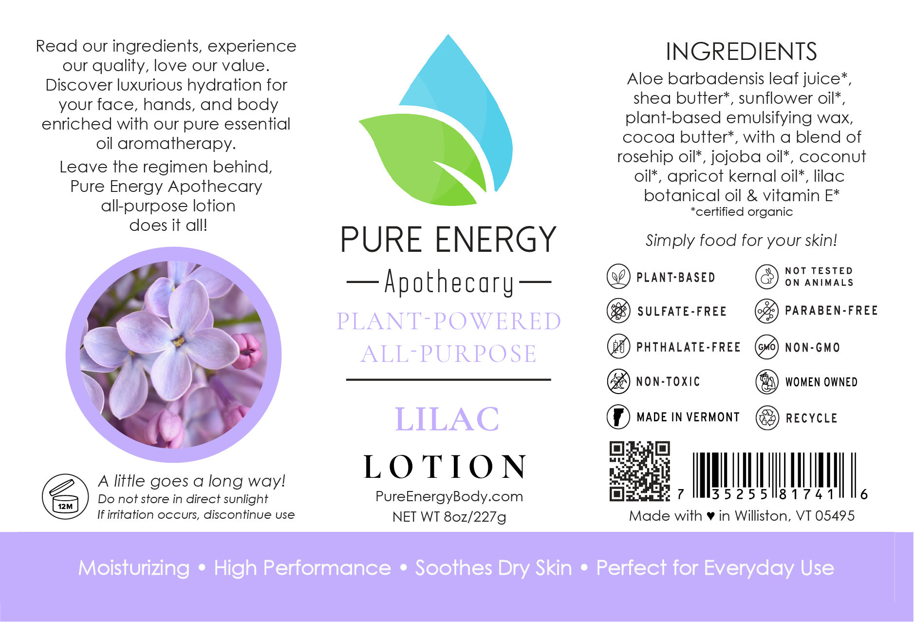 Natural All Purpose Lotion 8 Oz (Lilac)