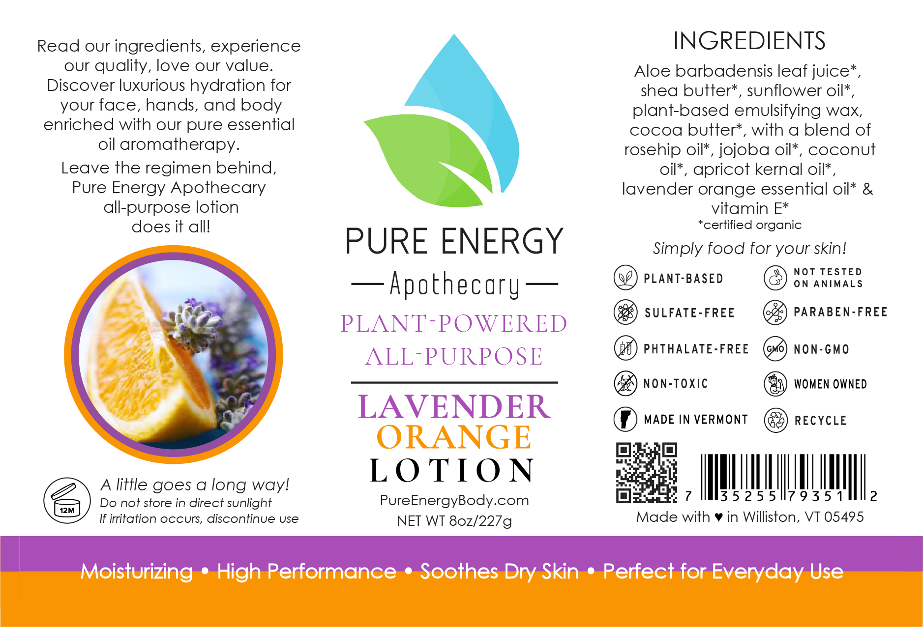Natural All Purpose Lotion 8 Oz (Lavender Orange)