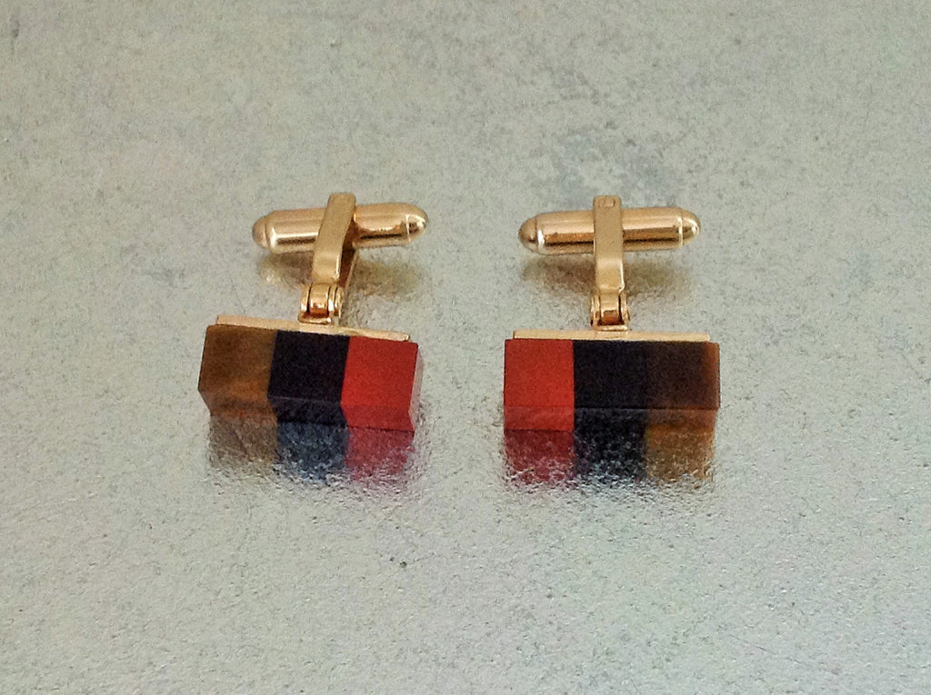 Tri-Color Cubed Cufflinks