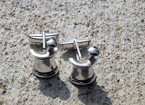 Shaving Brush and Lather Cup Vintage Cufflinks