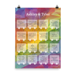 Personalized 'KEEP YOUR PASSION' Couple Activity Poster - Crystal Design