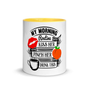 Kiss her & pinch her peach morning routine - couple mug