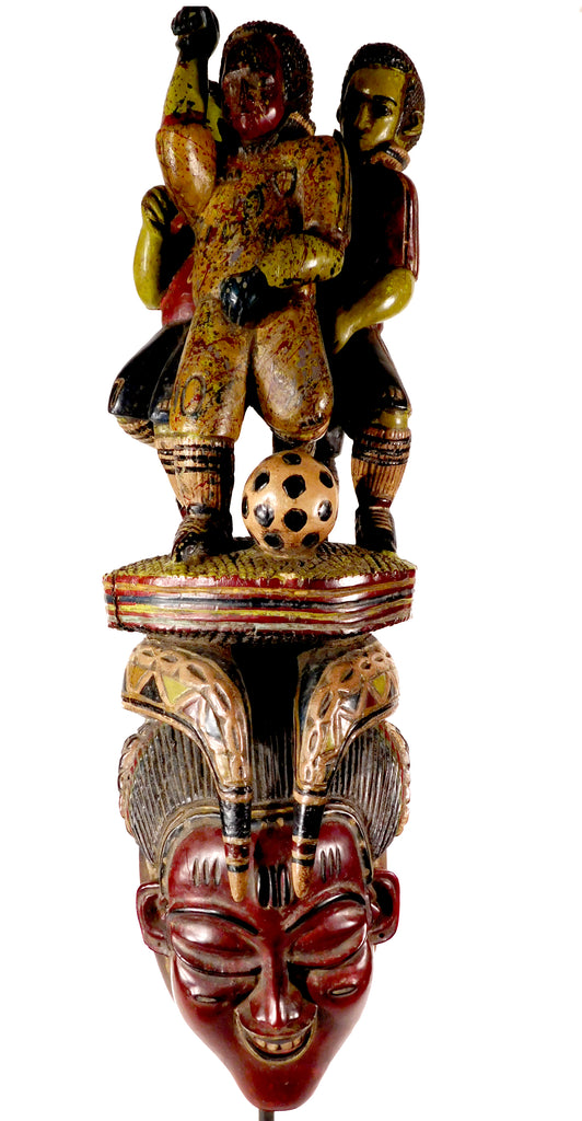Mask with Soccer Players, Guro, Ivory Coast