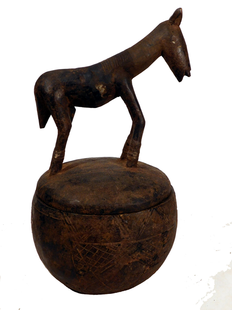 Covered Bowl w/Large Horse Finial, Dogon, Mali
