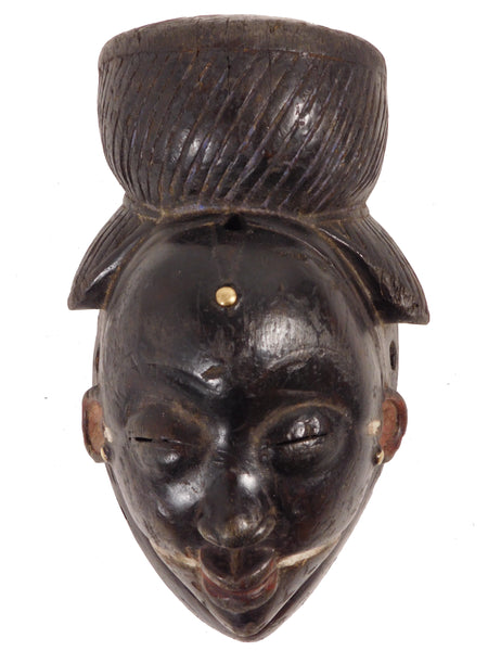 Blackened Ikwara Night  Mask, Punu, Gabon
