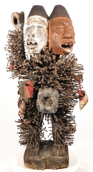 Nkisi Power Figure with Two Heads, Bakongo People, DR Congo/Zaire