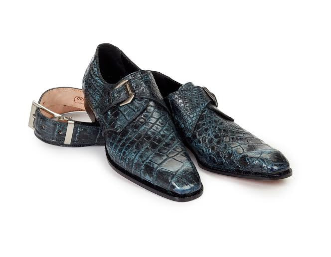 Mauri - 4118 Pompeii Body Alligator Hand Painted Monk Strap - Dudes Boutique