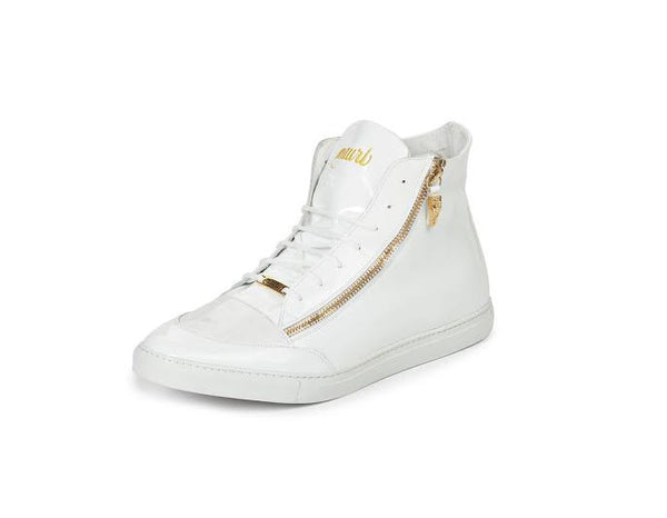Mauri - M766 White Patent Leather Baby Crocodile Sneakers - Dudes Boutique