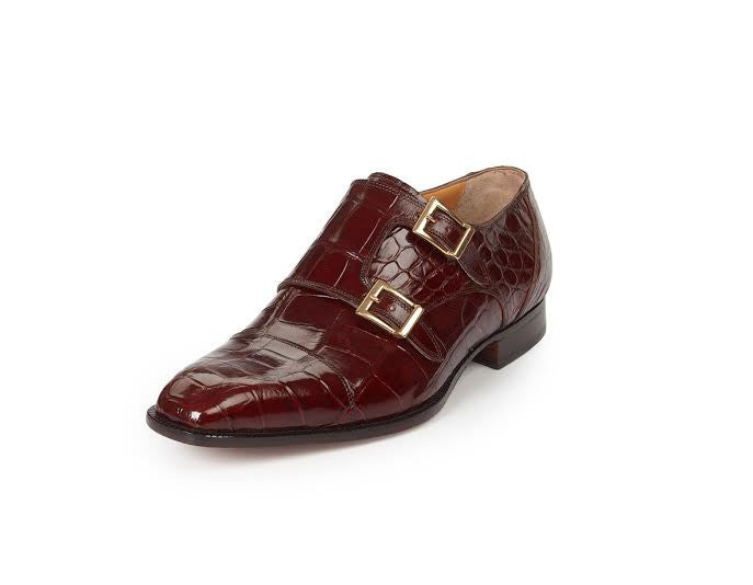 Mauri - 4560 Via Spiga Gold All Over Body Alligator Double Monk Strap - Dudes Boutique