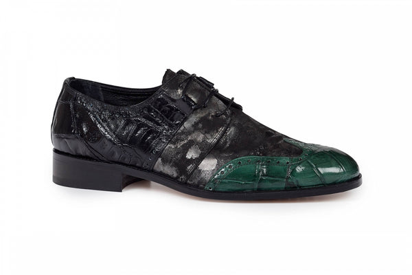 Mauri - 53124 Black Baby Croc , Hunter Green Alligator Body & Fabric Dress Shoes