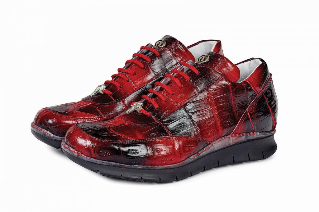 Mauri - 8932 Hand-Painted Red/Black Alligator Body Sneaker - Dudes Boutique