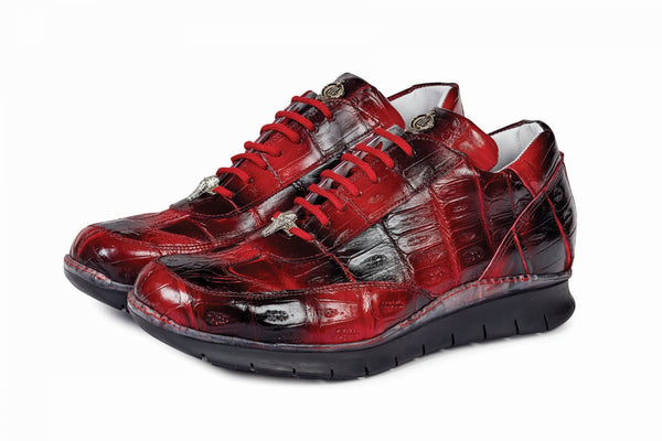 Mauri - 8932 Hand-Painted Red/Black Alligator Body Sneaker