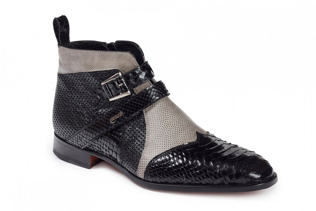 Mauri - 4828 Black Python, Grey Lizard& Perforated Black Ostrich Boots - Dudes Boutique