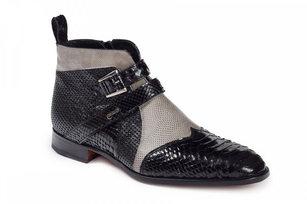 Mauri - 4828 Black Python, Grey Lizard& Perforated Black Ostrich Boots