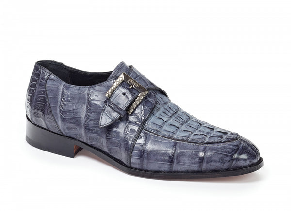 Mauri - 4834 Canaletto Crocodile & Hornback Monk Strap Med Gray