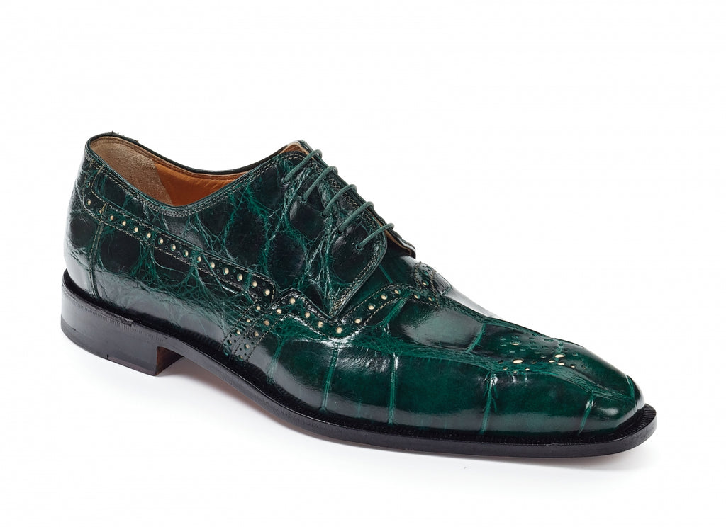 Mauri - 4860 Longhi Alligator Shoes Hunter Green - Dudes Boutique