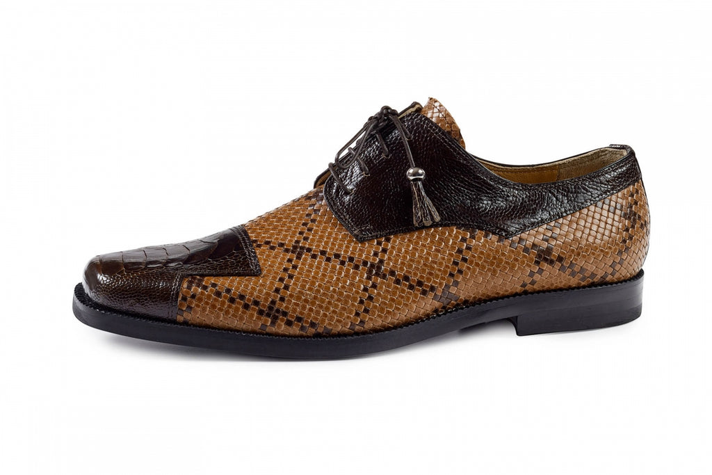 Mauri - M620 Sport Rust Ostrich Leg & Cognack/Dark Brown Woven Dress Shoes