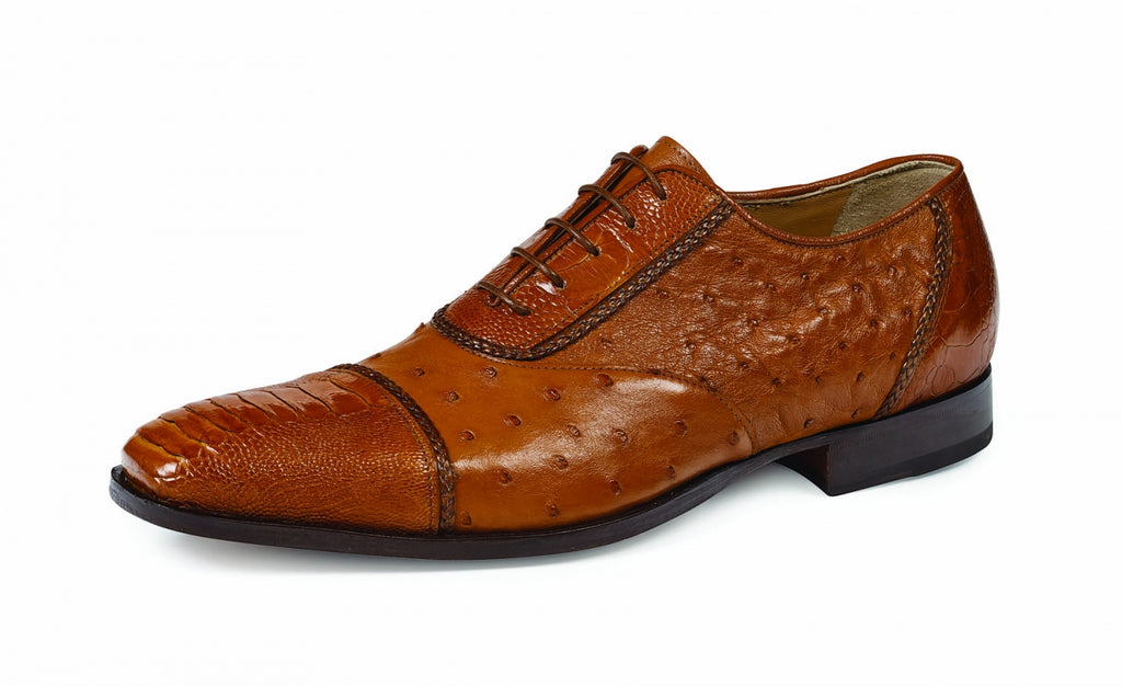 Mauri - 4813 Cognac Ostrich Leg and Body Dress Shoe - Dudes Boutique