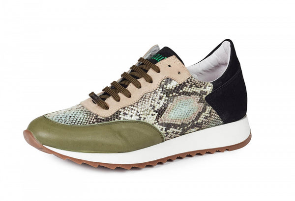 Mauri - M728 Calf, Python Print, & Green Suede Sneakers