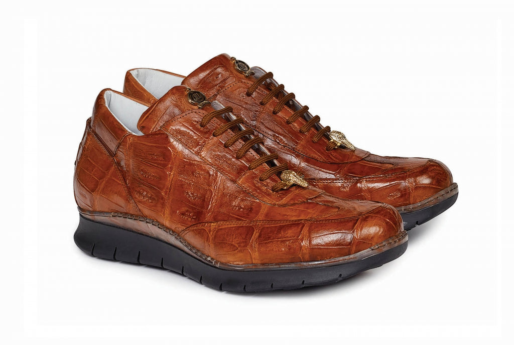 Mauri - 8932 Hand-Painted Cognac Alligator Body Sneaker - Dudes Boutique