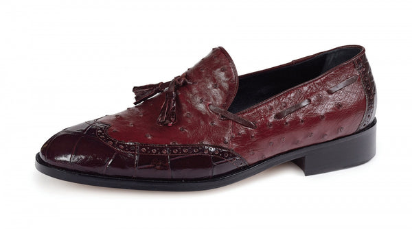 Mauri - 53129 Burgundy Alligator Body/Ostrich  Tassle Loafer