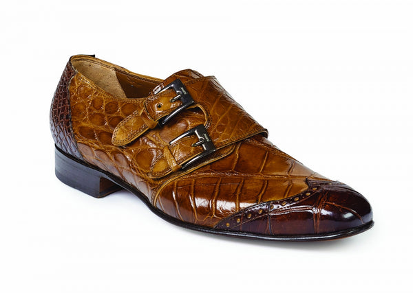 Mauri - 1010 Masolino Brandy/Sport Rust Alligator Double Monk Strap Dress Shoe