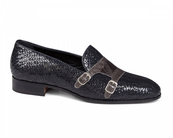 Mauri - 4811 Blue Woven & Grey Ostrich Leg Loafer