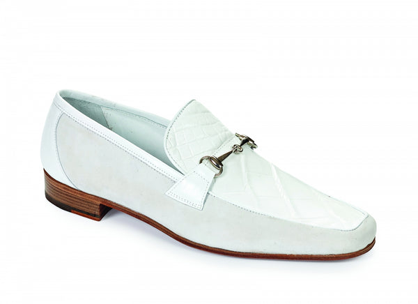 Mauri - 4863 Borromini Alligator & Suede Bit Loafers White