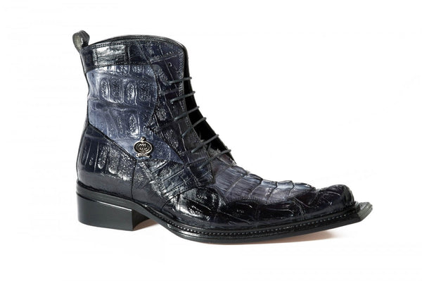 Mauri '42742' Black/Grey Baby Croc & Hornback Tail Boots - Dudes Boutique