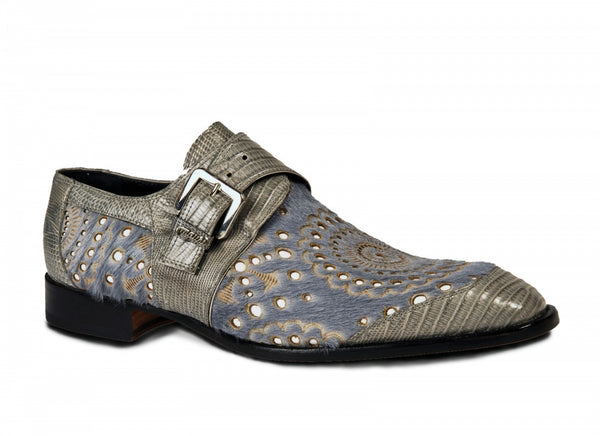 Mauri - 4826 Ceruti Lizard & Pony Monk Strap Shoes Gray - Dudes Boutique